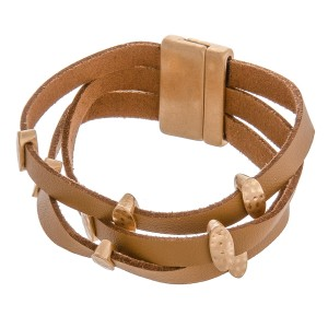"""Multi strand faux leather magnetic bracelet.  - Magnetic closure - Approximately 3"""" in diameter - Fits up to a 6"""" wrist"""