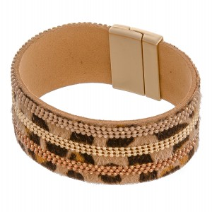 """Faux leather leopard print cowhide magnetic bracelet with beaded accents.  - Approximately 3"""" in diameter  - Fits up to a 6"""" wrist"""