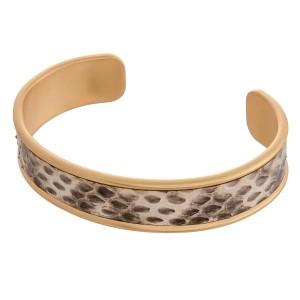 """Faux leather snakeskin brass cuff bracelet.  - Approximately 3"""" in diameter"""