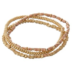 """Gold tone bohemian beaded stretch bracelet set.  - 3pcs/set - Approximately 3"""" in diameter unstretched - Fits up to a 7"""" wrist"""