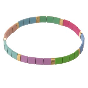 "Miyuki Tila coated color block stretch bracelet.  - Approximately 3"" in diameter unstretched - Fits up to a 7"" wrist"