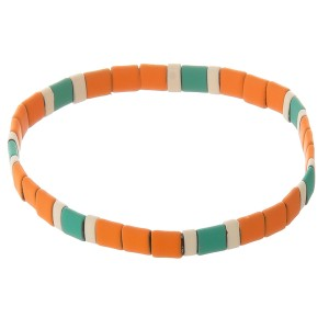 "Miyuki Tila coated beaded stretch bracelet.  - Approximately 3"" in diameter unstretched - Fits up to a 7"" wrist"