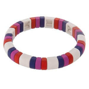 "Rubbery coated color block stretch bracelet.  - Approximately 3"" in diameter unstretched - Fits up to a 7"" wrist"
