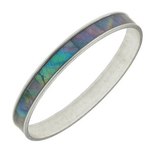 "Silver Mother of Pearl Coated Bangle Bracelet.  - Approximately 3"" in diameter - Fits up to a 6"" wrist"