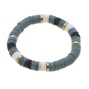 "Polymer Clay Spacer Disc Beaded Color Block Stretch Bracelet.  - Approximately 3"" in diameter unstretched - Fits up to a 7"" wrist"