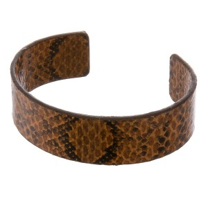 "Faux leather open ended snakeskin cuff bracelet.  - Approximately 3"" in diameter - Fits up to a 6"" wrist"