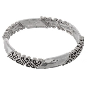 "Silver filigree hammered heart metal stretch bracelet.  - Approximately 3"" in diameter unstretched - Fits up to a 7"" wrist"