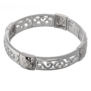 "Silver cut out filigree hammered metal stretch bracelet.  - Approximately 3"" in diameter unstretched  - Fits up to a 7"" wrist"