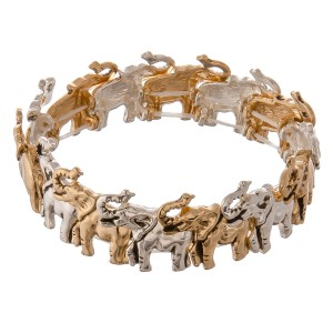 "Two tone antique metal elephant stretch bracelet.  - Approximately 3"" in diameter unstretched - Fits up to a 7"" wrist"