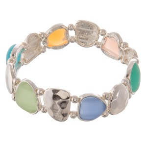 "Hammered sea glass stretch bracelet.   - Approximately 3"" in diameter unstretched - Fits up to a 7"" wrist"