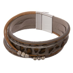 """Faux leather multi strand animal print magnetic bracelet with silver bead accents.  - Magnetic closure - Approximately 3"""" in diameter - Fits up to a 6"""" wrist"""