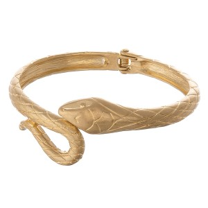 "Designer inspired metal snake hinge bangle bracelet.  - Approximately 3"" in diameter - Fits up to a 6"" wrist"