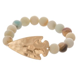 """Semi precious beaded hammered arrow stretch bracelet.  - Focal approximately 1.75""""  - Approximately 3"""" in diameter - Fits up to a 7"""" wrist"""