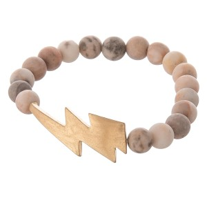 """Semi Precious Natural Stone Beaded Lightning Bolt Stretch Bracelet.  - Focal 1.5"""" - Approximately 3"""" in diameter unstretched - Fits up to a 7"""" wrist"""