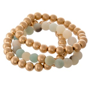 """Natural Stone CCB Beaded Stacking Stretch Bracelet Set.  - 3pcs/set - Approximately 3"""" in diameter - Fits up to a 7"""" wrist"""