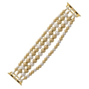 """Interchangeable Ball Beaded Multi Strand Stretch Smart Watch Bracelet in Worn Gold and Silver.  - 5mm and 7mm Bead Size - Approximately 3"""" in diameter unstretched - Fits up to a 7"""" wrist"""