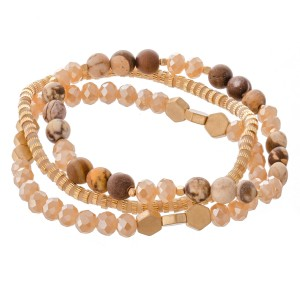 "Semi Precious Natural Stone Beaded Stretch Bracelet Set.  - 3pcs/set - Approximately 3"" in diameter - Fits up to a 7"" wrist"
