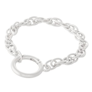"""Layered Chain Linked Bracelet with Hinge Ring Closure Detail.  - Approximately 3.5"""" in diameter - Fits up to a 7.5"""" wrist"""