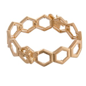 """Honey Bee Stretch Bangle Bracelet.  - Approximately 3"""" in diameter - Fits up to a 7"""" wrist"""