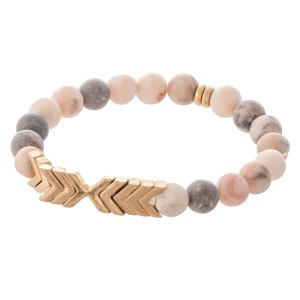 """Semi Precious Natural Stone Beaded Arrow Stretch Bracelet.  - Approximately 3"""" in diameter unstretched - Fits up to a 7"""" wrist"""