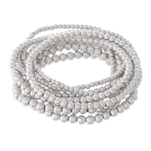 """Beaded Ball Stacking Stretch Bracelet Set in Worn Silver.  - 9pcs/set - 2mm, 3mm, 4mm Bead Sizes - Approximately 3"""" in diameter - Fits up to a 7"""" wrist"""