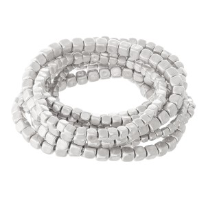 """Block Beaded Stacking Stretch Bracelet Set in Worn Silver.  - 9pcs/set - 2mm, 3mm, 4mm Bead Sizes - Approximately 3"""" in diameter - Fits up to a 7"""" wrist"""