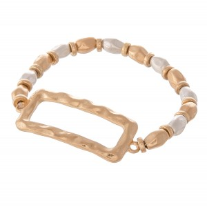 """Two Tone Hammered Beaded Rectangle Stretch Bracelet.  - Rectangle 1.5""""  - Approximately 3"""" in diameter unstretched - Fits up to a 7"""" wrist"""