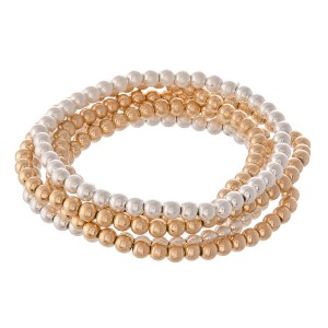 """Multi Tone Beaded Ball Stacking Bracelet Set.  - 5pcs/set - 3.5mm Bead Size - Approximately 3"""" in diameter - Fits up to a 7"""" wrist"""