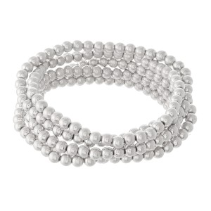 """Beaded Ball Stacking Bracelet Set in Worn Silver.  - 5pcs/set - 3.5mm Bead Size - Approximately 3"""" in diameter - Fits up to a 7"""" wrist"""