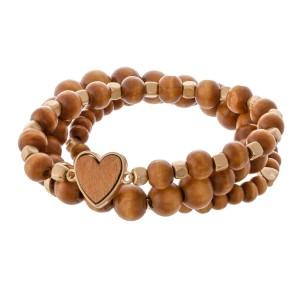 "Wood beaded heart stretch bracelet set.  - 3pcs/set - Approximately 3"" in diameter - Fits up to a 7"" wrist"