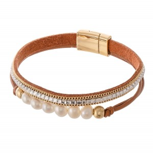 """Pearl beaded rhinestone cord magnetic bracelet.  - Magnetic closure - Approximately 3"""" in diameter - Fits up to a 6"""" wrist"""