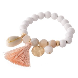 """Wood Beaded Natural Stone Tassel Charm Stretch Bracelet.  - Approximately 3"""" in diameter - Fits up to a 7"""" wrist"""