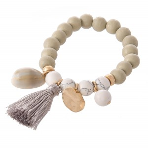"Wood Beaded Natural Stone Tassel Charm Stretch Bracelet.  - Approximately 3"" in diameter - Fits up to a 7"" wrist"