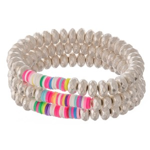 """Worn Faceted Beaded Stretch Bracelet Set with Multicolor Spacer Bead Details.  - 3pcs/set - Approximately 3"""" in diameter - Fits up to a 7"""" wrist"""