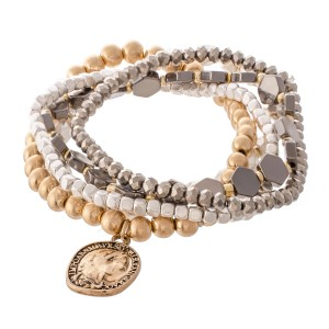 "Metal Tone Honeycomb Coin Charm Stretch Bracelet Set.  - 5pcs/set - Approximately 3"" in diameter - Fits up to a 7"" wrist"