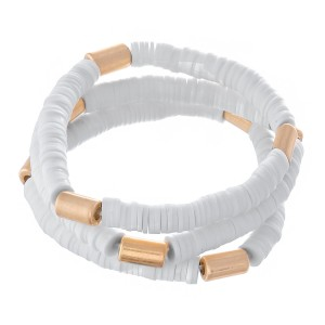 """Spacer Beaded Stretch Bracelet Set with Gold Cylinder Bead Accents.  - 3pcs/set - Approximately 3"""" in diameter - Fits up to a 7"""" wrist"""