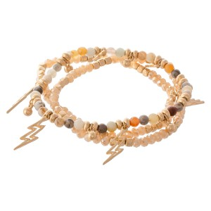 "Semi Precious Beaded Lightning Bolt Charm Stretch Bracelet Set in Gold.  - 3pcs/set - Approximately 3"" in diameter - Fits up to a 7"" wrist"
