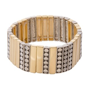 """Two Tone Antique Metal Tile Statement Stretch Bracelet.  - Approximately 3"""" in diameter - Fits up to a 7"""" wrist"""