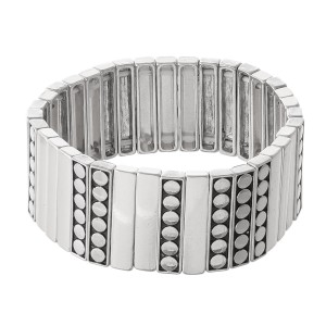 """Antique Metal Tile Statement Stretch Bracelet.  - Approximately 3"""" in diameter - Fits up to a 7"""" wrist"""