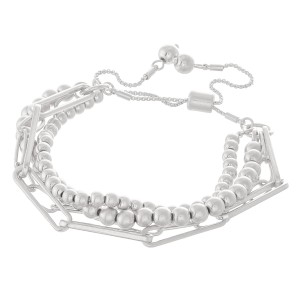 """CCB Hera Chain Link Layered Bolo Bracelet In Worn Silver.  - Approximately 3"""" in diameter - Fits up to an 8"""" wrist"""