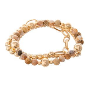 "Gold Ball Beaded Semi Precious Stretch Bracelet Set.  - 3pcs/set - Approximately 3"" in diameter - Fits up to a 7"" wrist"