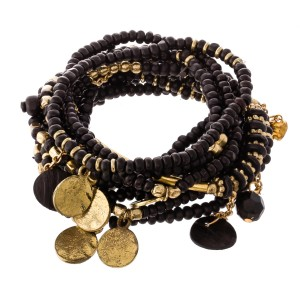 """Black Wooden Beaded Boho Coin Jingle Charm Stacking Bracelet Set.  - 10pcs/set - Approximately 3"""" in diameter unstretched - Fits up to a 7"""" wrist"""