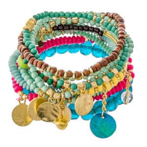 """Teal Green Multi Beaded Boho Jingle Coin Charm Stacking Stretch Bracelet Set.  - 10pcs/set - Approximately 3"""" in diameter unstretched - Fits up to a 7"""" wrist"""