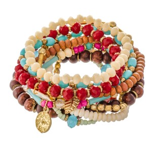 "Multicolor Wood Beaded Feather Charm Boho Stacking Stretch Bracelet Set with Shell Accent.  - 10pcs/set - Approximately 3"" in diameter  - Fits up to a 7"" wrist"
