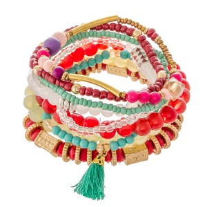 """Red Multi Semi Precious Beaded Tassel Stacking Stretch Bracelet Set.  - 9pcs/set - Approximately 3"""" in diameter - Fits up to a 7"""" wrist"""