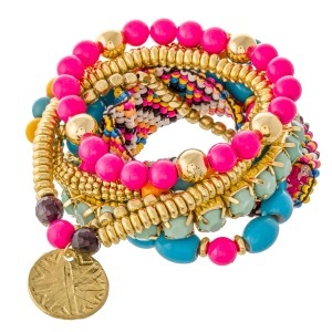 """Hot Pink Seed Beaded Loom Boho Coin Charm Stacking Stretch Bracelet Set.  - 7pcs/set - Approximately 3"""" in diameter unstretched - Fits up to a 7"""" wrist"""