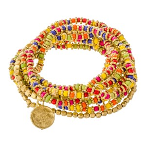"""Multicolor Flower Spacer Beaded Boho Coin Charm Stacking Stretch Bracelet Set.  - 10pcs/set - Approximately 3"""" in diameter unstretched - Fits up to a 7"""" wrist"""
