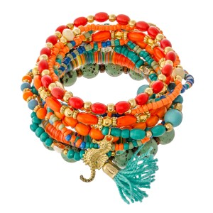 """Turquoise Multi Semi Precious Sequin Beaded Boho Sea Charm Tassel Stacking Stretch Bracelet Set.  - 11pcs/set - Approximately 3"""" in diameter unstretched - Fits up to a 7"""" wrist"""