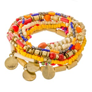 """Red Multi Semi Precious Beaded Boho Coin Charm Stacking Stretch Bracelet Set.  - 10pcs/set - Approximately 3"""" in diameter unstretched - Fits up to a 7"""" wrist"""