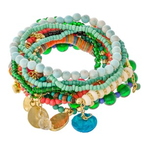 """Teal Green Multi Semi Precious Sequin Beaded Boho Jingle Charm Stacking Stretch Bracelet Set.  - 10pcs/set - Approximately 3"""" in diameter unstretched - Fits up to a 7"""" wrist"""